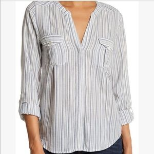 Joie | V-neck long Sleeves striped button down